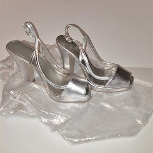 Nine West silver heels sandals